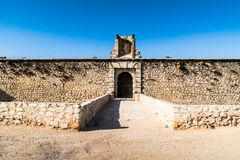 Wall castle and view o Chinchon, near Madrid. Spain stock photos