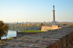 Medieval walls, the Danube and modern part of Belgrade Stock Image