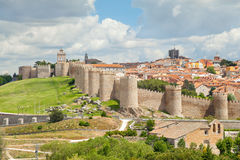 Medieval walls of historical city Avila, Spain Stock Image