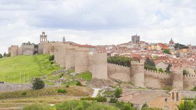 Medieval walls of historical city Avila, Spain stock video footage