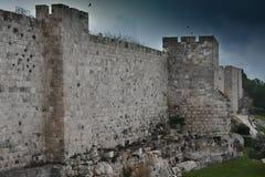 Medieval walls of Jerusalem. stock photo