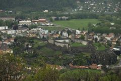 Medieval walls of Montebello medieval fortress in Bellinzona city, Switzerland stock photography