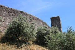 Medieval walls in Monteriggioni Stock Photo