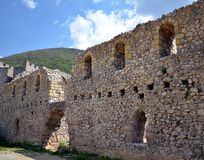 Medieval walls. Part of ruined walls  at medieval monastery Manasija in Serbia Royalty Free Stock Photography