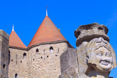 Medieval Walls and towers, city of Carcassonne Royalty Free Stock Images