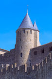 Medieval Walls and towers, city of Carcassonne Stock Images