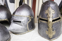 Medieval war helmets Royalty Free Stock Photo