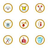 Medieval war icon set, cartoon style Royalty Free Stock Photo