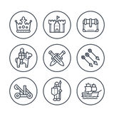 Medieval war line icons in circles on white Stock Photo