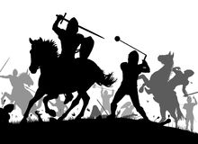 Medieval war. Vector silhouette illustration of a medieval battle scene with cavalry and infantry Stock Images