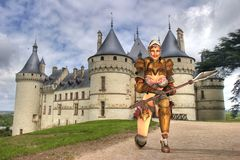 Medieval warrior at castle Stock Photo