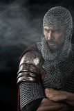 Medieval Warrior with chain mail armour Stock Image