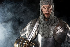 Medieval Warrior with Chain Mail Armour and Sword Stock Images