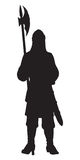 Medieval Warrior with a halberd. Vector drawing Royalty Free Stock Photo