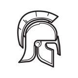 Medieval Warrior Helmet. Simple Outline Medieval Warrior Helmet Royalty Free Stock Images