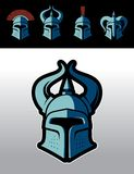 Medieval warrior helmets logo set. Warrior helmet logo set. Great for sports emblems & team mascots vector illustration