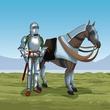 Medieval warrior with horse on battlefield. Icon vector illustratio ngraphic design Stock Image