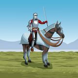 Medieval warrior with horse on battlefield. Icon vector illustratio ngraphic design Royalty Free Stock Photos
