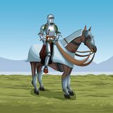 Medieval warrior with horse on battlefield. Icon vector illustratio ngraphic design Royalty Free Stock Photography