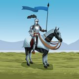 Medieval warrior with horse on battlefield. Icon vector illustratio ngraphic design Royalty Free Stock Image