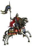 Medieval warrior on a horse Stock Photos