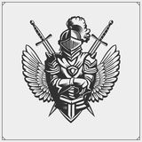 Medieval warrior knight in helmet emblem. Vector illustration. Black and white vector illustration