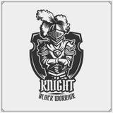 Medieval warrior knight in helmet emblem. Vector illustration. Black and white Stock Image