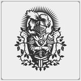 Medieval warrior knight in helmet emblem. Vector illustration. Black and white Royalty Free Stock Image