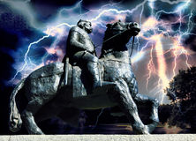 Medieval warrior riding a horse. On the stormy night Royalty Free Stock Image