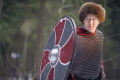 Medieval warrior with shield royalty free stock photo