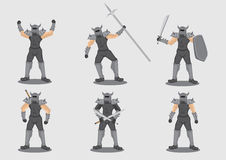 Medieval Warrior With Weapons Vector Character Design  Stock Photography