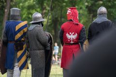 Medieval warriors in the battlefield stock photo