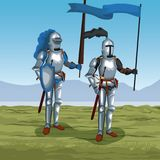 Medieval warriors on battlefield. Icon vector illustratio ngraphic design Royalty Free Stock Images