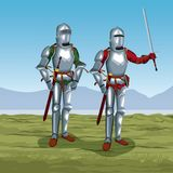 Medieval warriors on battlefield. Icon vector illustratio ngraphic design Royalty Free Stock Photos