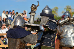Medieval warriors fight Royalty Free Stock Photos