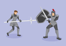 Medieval Warriors Fight Scene Vector Illustration. Vector illustration of medieval warriors in protective metal armor fighting with ancient weapons, corseque Stock Photos