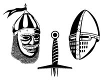 Medieval warriors helmets and sword. Vector illustration Royalty Free Stock Photo