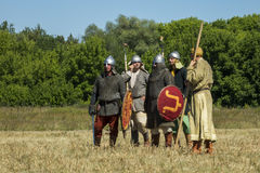 Medieval warriors during historical festival Royalty Free Stock Photos