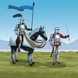 Medieval warriors with horse on battlefield. Icon vector illustratio ngraphic design Royalty Free Stock Images