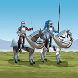 Medieval warriors with horses on battlefield. Icon vector illustratio ngraphic design Royalty Free Stock Images