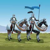Medieval warriors with horses on battlefield. Icon vector illustratio ngraphic design Stock Photos