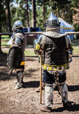 Medieval warriors, knights Stock Images