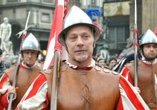 Medieval warriors in a reenactment parade in Italy Royalty Free Stock Image