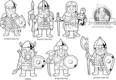 Medieval warriors, set of cartoon images. Funny medieval warriors, set of cartoon images Stock Photo