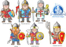 Medieval warriors, set of cartoon images. Funny medieval warriors, set of cartoon images Royalty Free Stock Image