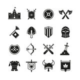 Medieval warriors shield and sword vector icons. Ancient knight symbols Royalty Free Stock Photo