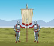 Medieval warriors on war. Vector illustration graphic design Stock Photos