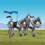 Medieval warriors on war. Vector illustration graphic design Royalty Free Stock Photos