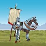Medieval warriors on war. Vector illustration graphic design Stock Image