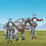 Medieval warriors on war. Vector illustration graphic design Royalty Free Stock Images